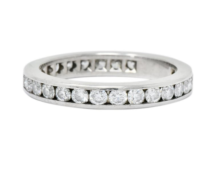 Modern Tiffany & Co. 1.05 Carat Round Brilliant Cut Diamond Platinum Eternity Band Ring For Sale
