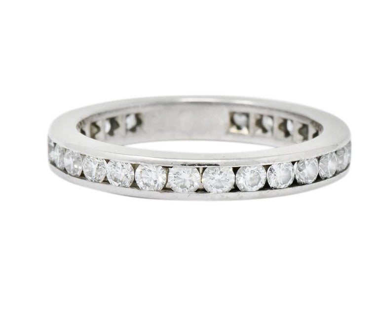 Tiffany & Co. 1.05 Carat Round Brilliant Cut Diamond Platinum Eternity Band Ring In Excellent Condition For Sale In Philadelphia, PA