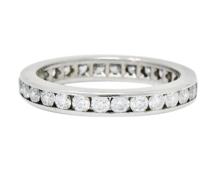 Women's or Men's Tiffany & Co. 1.05 Carat Round Brilliant Cut Diamond Platinum Eternity Band Ring For Sale