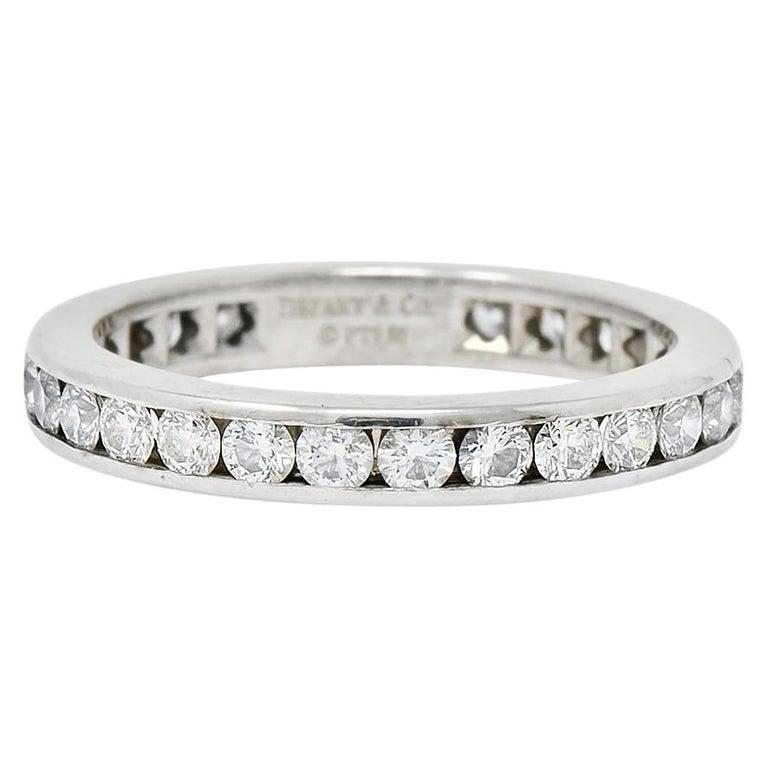 Tiffany & Co. 1.05 Carat Round Brilliant Cut Diamond Platinum Eternity Band Ring For Sale