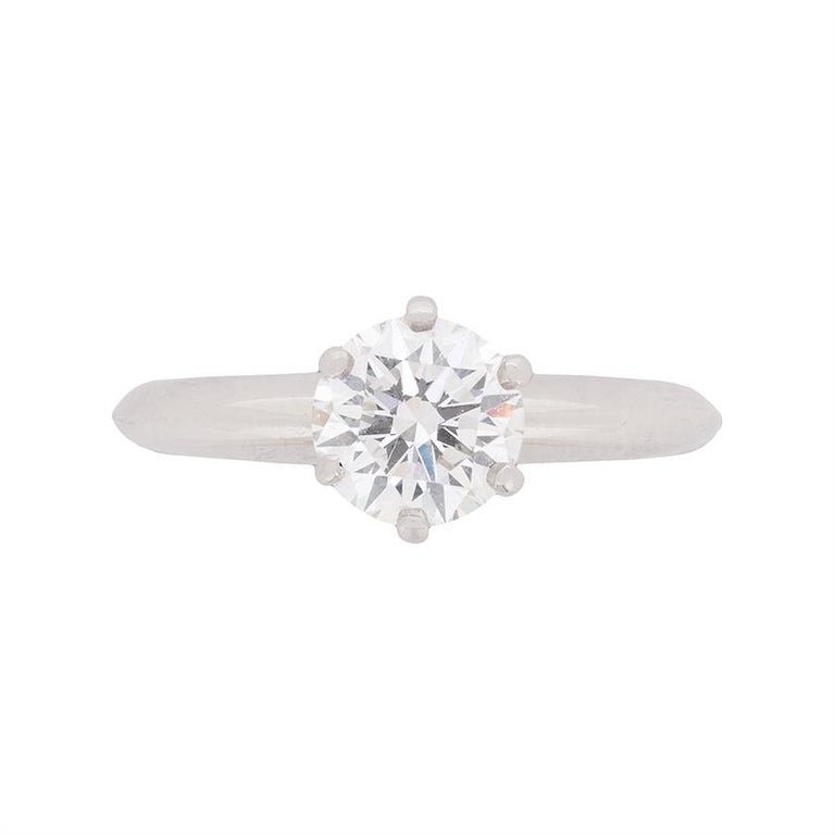 37efb130d Tiffany & Co. 1.05 Carat Round Brilliant Cut Diamond Solitaire Engagement  Ring For Sale