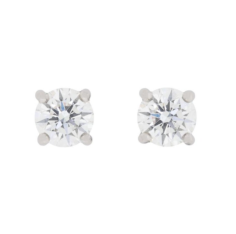 da5348c79 Tiffany & Co. 1.10 Carat Solitaire Diamond Earrings In Excellent Condition  For Sale In London