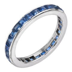 Tiffany & Co. 1.12 Carat Sapphire Platinum Eternity Wedding Band Ring