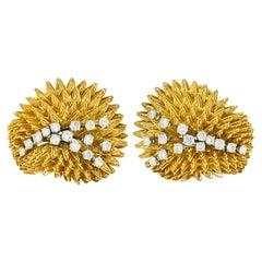 Tiffany & Co. 1.18 Carats Diamond 18 Karat Gold Vintage Burst Earrings Earrings