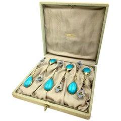 Tiffany & Co 11th Artel Antique Russian Silver Guilloche Enamel Set of Teaspoons