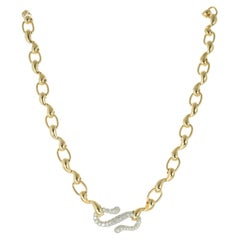 Tiffany & Co 1.20 Carat Diamond Yellow Gold Platinum Swirl Link Necklace