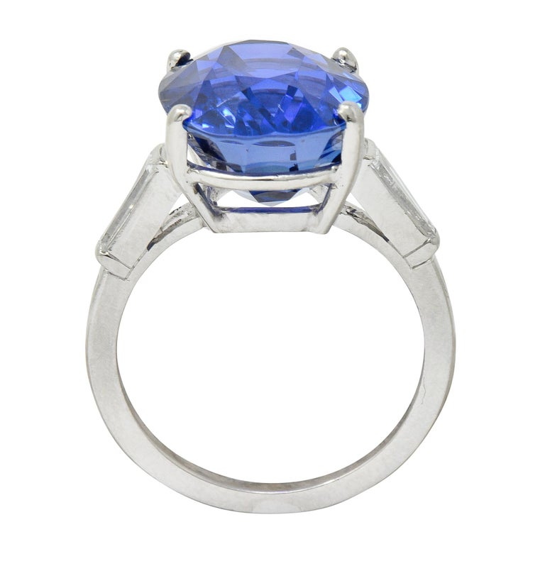 Tiffany & Co. 12.17 Carat No Heat Ceylon Sapphire Diamond Platinum Ring For Sale 1