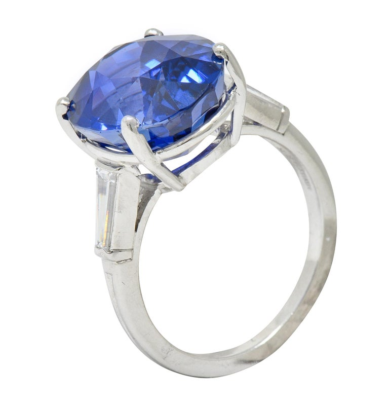 Tiffany & Co. 12.17 Carat No Heat Ceylon Sapphire Diamond Platinum Ring For Sale 3