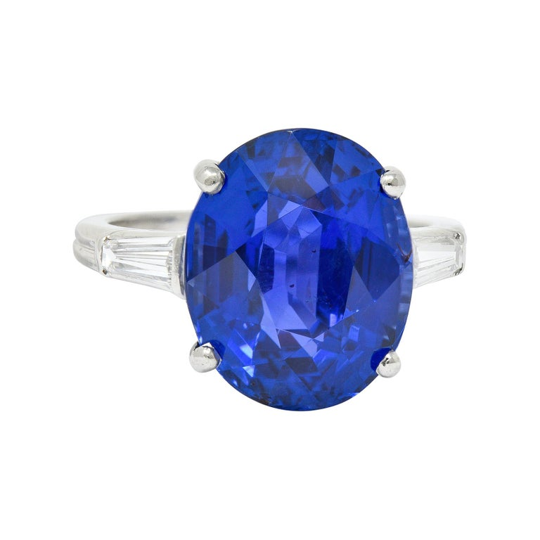 Tiffany & Co. 12.17 Carat No Heat Ceylon Sapphire Diamond Platinum Ring For Sale