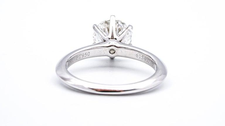 Round Cut Tiffany & Co. 1.22 Carat center I VS2 Round Brilliant Solitaire Engagement Ring
