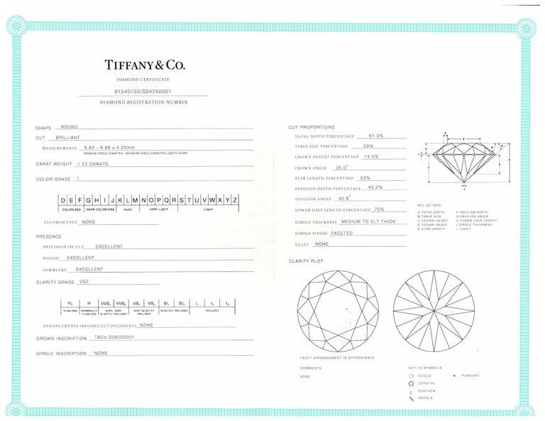 Tiffany & Co. 1.22 Carat center I VS2 Round Brilliant Solitaire Engagement Ring 1
