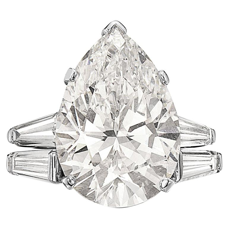 Tiffany & Co. 12.20 F VVS1 GIA Pear Shape Engagement Ring with Band For Sale