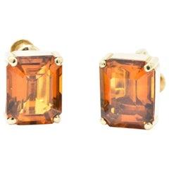 Tiffany & Co. 12.25 Carat Citrine 18 Karat Yellow Gold Retro Screw Back Earrings