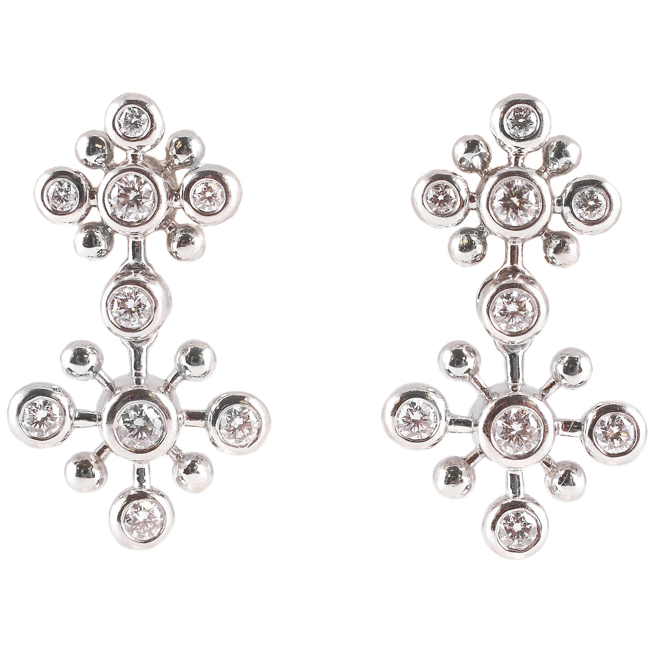 1.25 Carat Diamond Snowflake Earrings
