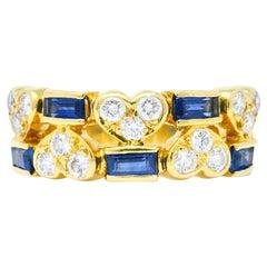 Tiffany & Co. 1.25 Carats Diamond Sapphire 18 Karat Gold Heart Band Ring