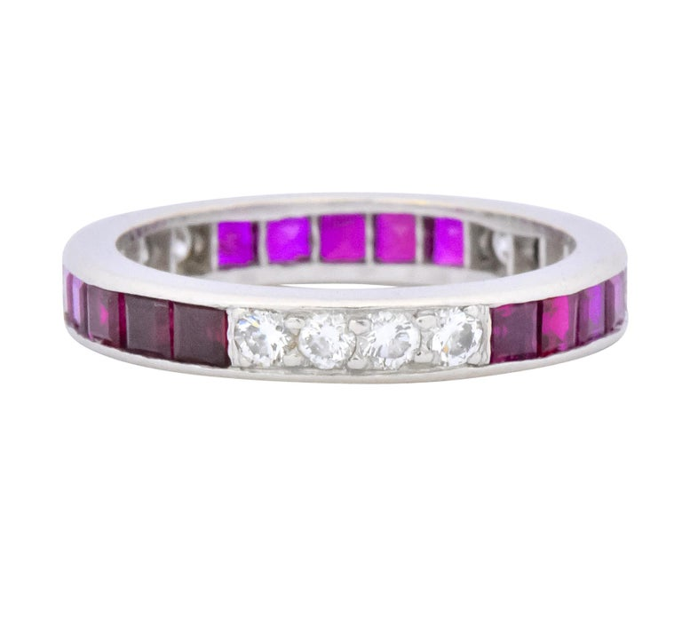 Tiffany & Co. 1.26 Carat Diamond Ruby Platinum Eternity Band, circa 1950s In Excellent Condition For Sale In Philadelphia, PA