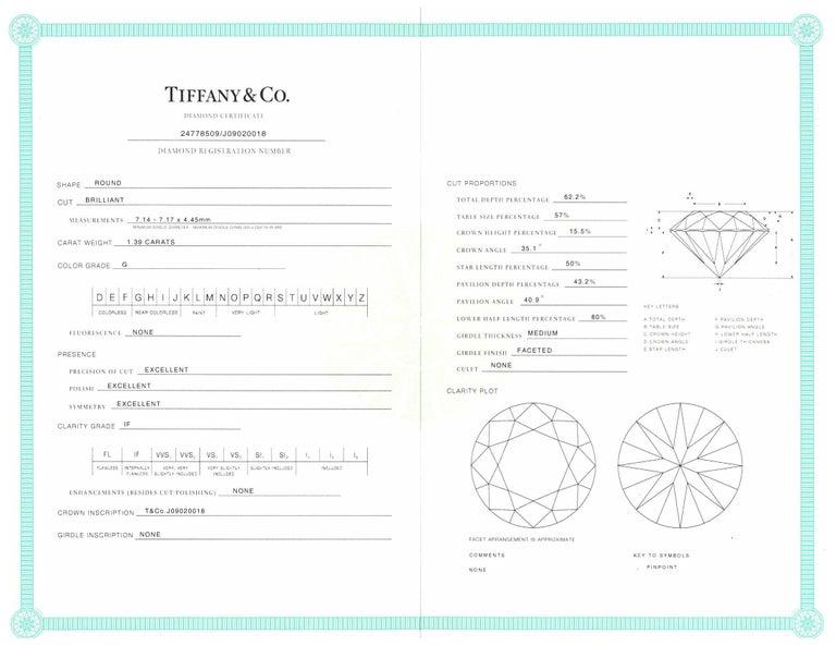 Tiffany & Co. 1.39 Ct Center G, IF 'Internally Flawless'