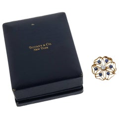 Tiffany & Co. 14 Karat Antique Yellow Gold Sapphire and Diamond Pin