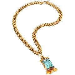 Tiffany & Co. 14 Karat Gold Aquamarine and Sapphire Pendant Necklace