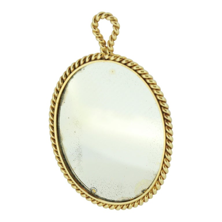 Tiffany & Co. 14 Karat Gold Mirror and Pendant, USA, circa 1940s For Sale