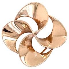 Tiffany & Co. 14 Karat Gold Modern Pin-Wheel Brooch or Pin