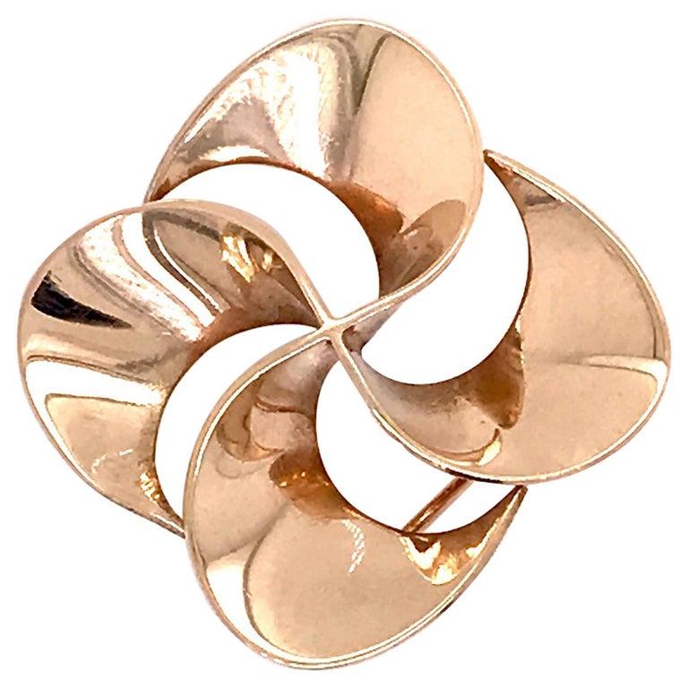 Tiffany & Co. 14 Karat Gold Modern Pin-Wheel Brooch or Pin For Sale