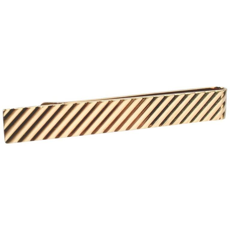 Tiffany & Co. 14 Karat Gold Modern Tie Clip or Tie Bar For Sale