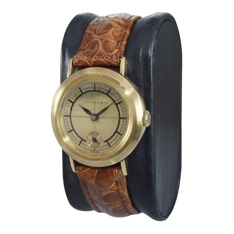 Art Deco Tiffany & Co. 14 Karat Solid Yellow Gold Vintage Watch, circa 1930s For Sale