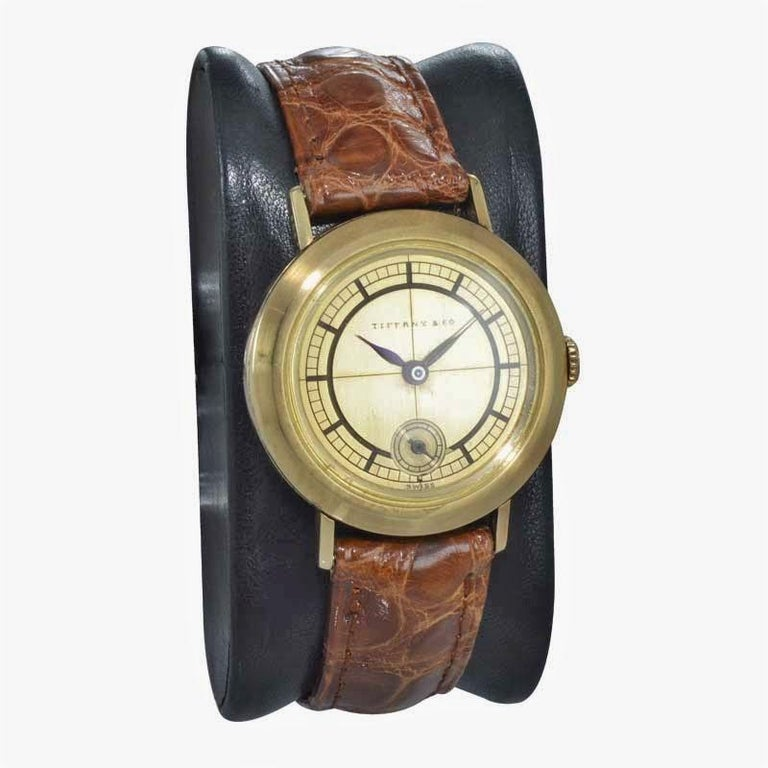 Tiffany & Co. 14 Karat Solid Yellow Gold Vintage Watch, circa 1930s In Excellent Condition For Sale In Long Beach, CA
