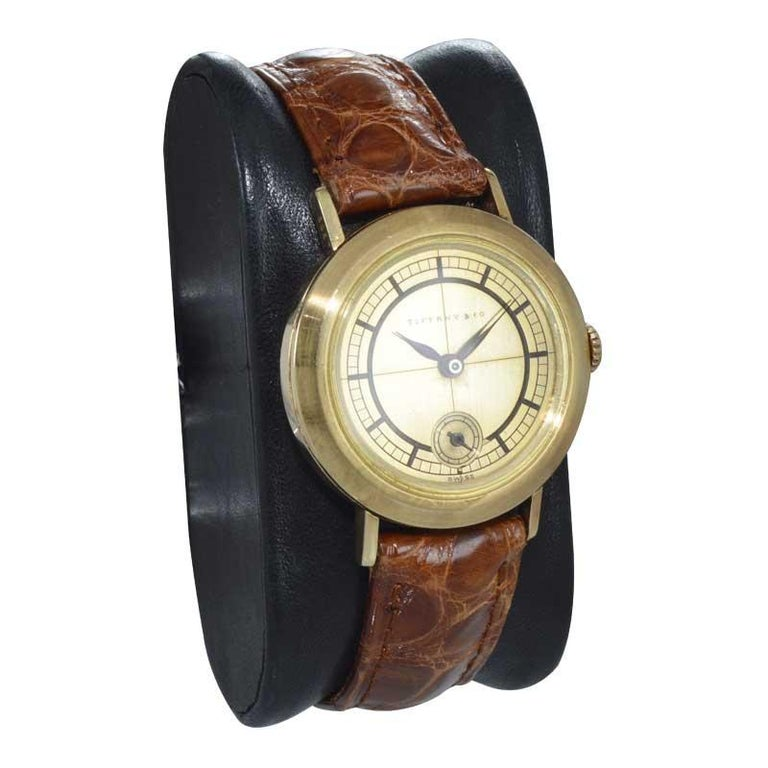 Women's or Men's Tiffany & Co. 14 Karat Solid Yellow Gold Vintage Watch, circa 1930s For Sale