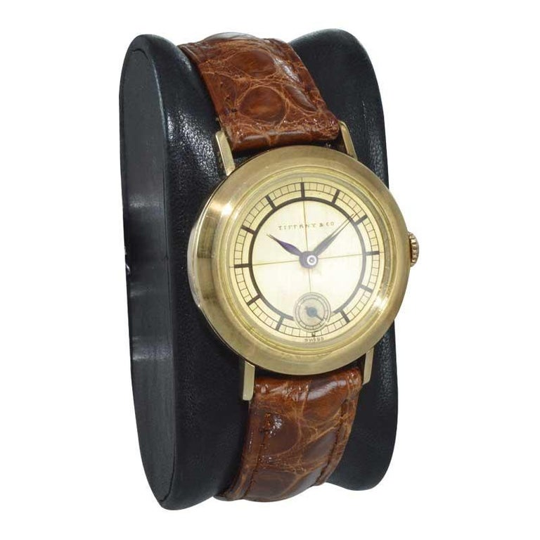 Tiffany & Co. 14 Karat Solid Yellow Gold Vintage Watch, circa 1930s For Sale 1