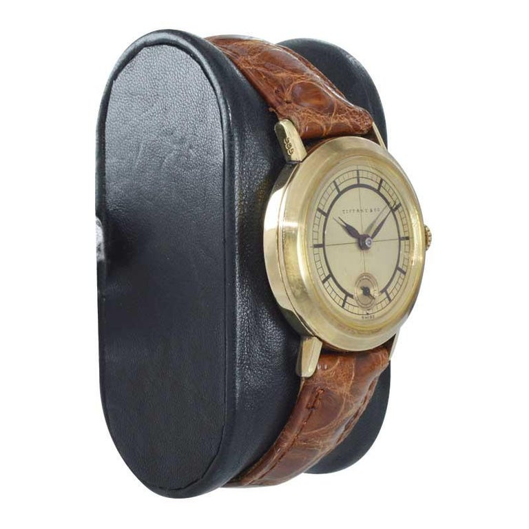 Tiffany & Co. 14 Karat Solid Yellow Gold Vintage Watch, circa 1930s For Sale 2