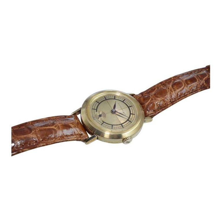 Tiffany & Co. 14 Karat Solid Yellow Gold Vintage Watch, circa 1930s For Sale 3