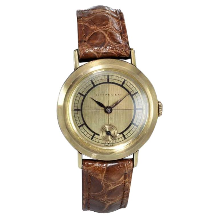Tiffany & Co. 14 Karat Solid Yellow Gold Vintage Watch, circa 1930s For Sale