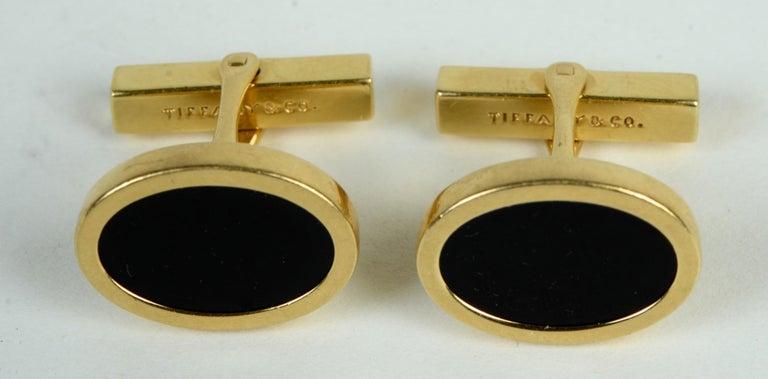 Art Deco Tiffany & Co. 14 Karat Yellow Gold and Black Onyx Vintage Cufflinks For Sale