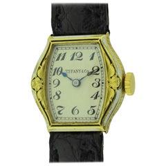Tiffany & Co. 14 Karat Yellow Gold Art Deco and Enamel Wristwatch, circa 1930s