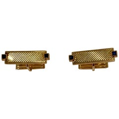 Tiffany & Co. 14 Karat Yellow Gold Art Deco Style Cufflinks with Blue Sapphires