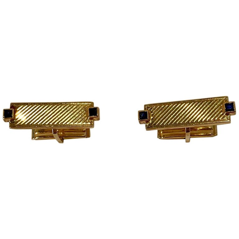 Tiffany & Co. 14 Karat Yellow Gold Art Deco Style Cufflinks with Blue Sapphires For Sale