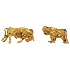 Tiffany & Co. 14 Karat Yellow Gold Bear and Bull Cufflinks