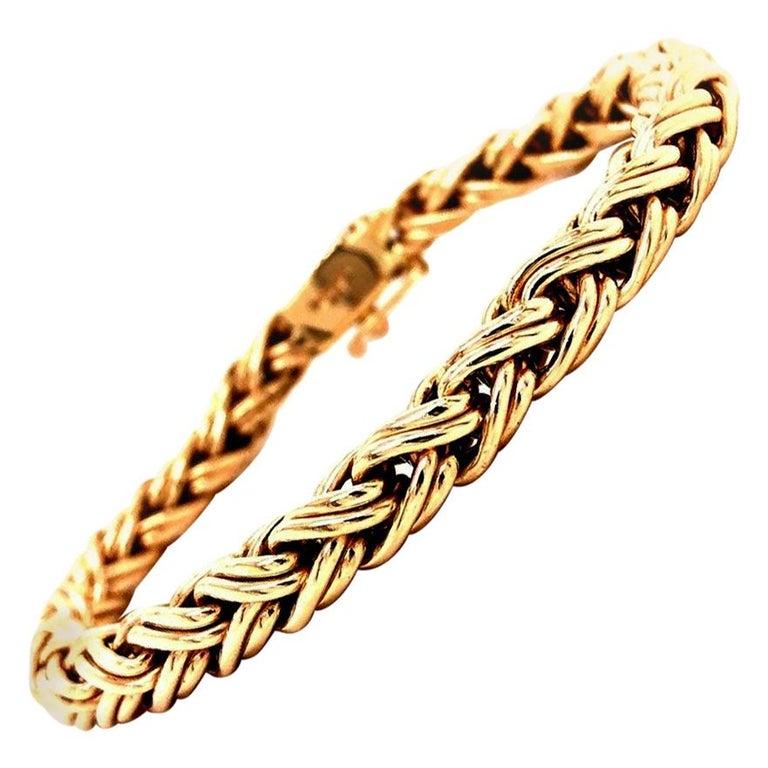 Tiffany & Co. 14 Karat Yellow Gold Bracelet Woven Wheat Byzantine Clasp 22g