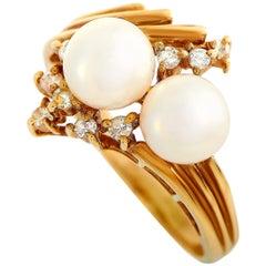 Tiffany & Co. 14 Karat Yellow Gold Diamond and Pearl Ring