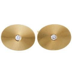Tiffany & Co. 14 Karat Yellow Gold Diamond Oval Cufflinks