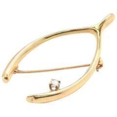 Tiffany & Co. 14 Karat Yellow Gold Diamond Wishbone Pin with Box