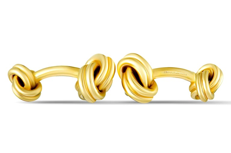 Tiffany & Co. 14 Karat Yellow Gold Knotted Cufflinks In Excellent Condition For Sale In Southampton, PA
