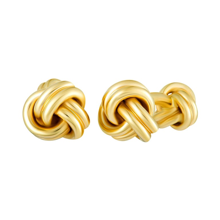 Tiffany & Co. 14 Karat Yellow Gold Knotted Cufflinks For Sale