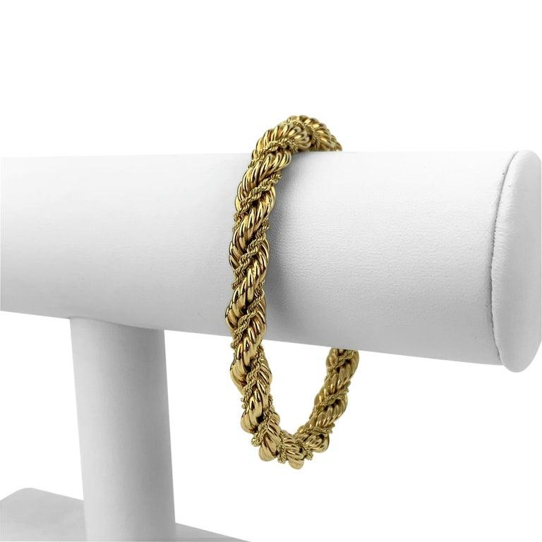 Tiffany & Co. 14k Yellow Gold 27.2g Ladies Fancy Rope Twist Bracelet 7.5