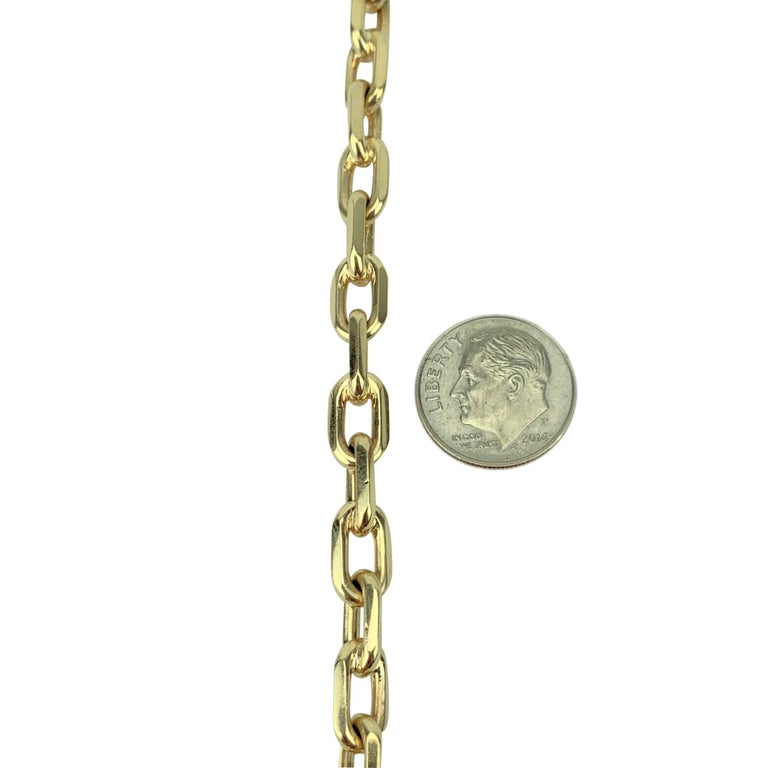 Tiffany & Co. 14 Karat Yellow Gold Oval Cable Link Bracelet In Good Condition For Sale In Brandford, CT