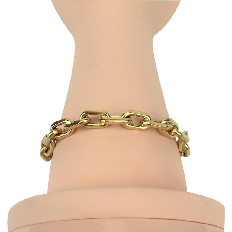 Tiffany & Co. 14 Karat Yellow Gold Oval Cable Link Bracelet For Sale 3