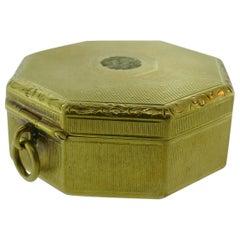 Tiffany & Co. 14 Karat Yellow Gold Pill Box Mirror Pendant circa 1900s Rare