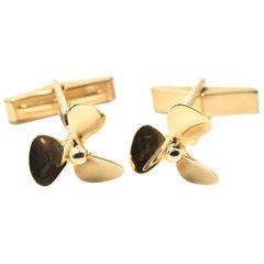 Tiffany & Co. 14 Karat Yellow Gold Propeller Cufflinks
